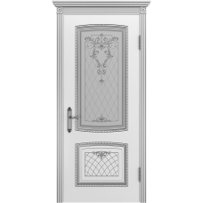 Ульяновская дверь Аристократ белая эмаль патина серебро ДО