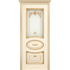 Ульяновская дверь Багет-3 эмаль слоновая кость патина золото ДО