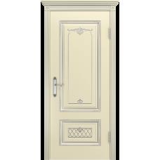 Ульяновская дверь Британия-3 эмаль слоновая кость патина серебро ДГ
