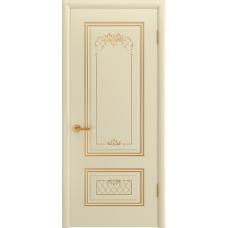 Ульяновская дверь Британия-3 эмаль слоновая кость патина золото ДГ
