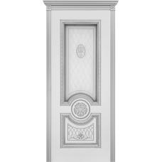 Ульяновская дверь Гамма эмаль слоновая кость патина серебро ДО