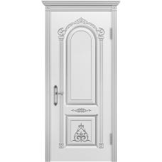 Ульяновская дверь Ода-1 белая эмаль патина серебро ДГ