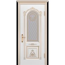 Ульяновская дверь Ода-3 белая эмаль патина золото ДО
