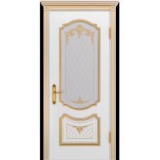 Ульяновская дверь Премьера-3 белая эмаль патина золото ДО