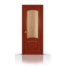 Дверь СитиДорс модель Александрит цвет Красное дерево стекло