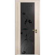 Дверь DioDoor Винтаж-2 беленый дуб черный триплекс Вьюнок матовый