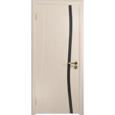 Дверь DioDoor Грация-1 беленый дуб черный триплекс Вьюнок матовый