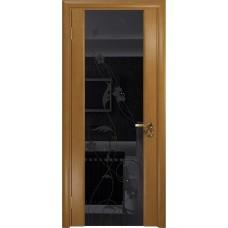 Дверь DioDoor Винтаж-2 анегри черный триплекс Вьюнок глянцевый