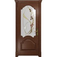 Дверь DioDoor Валенсия красное дерево витраж Овал