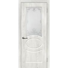 Дверь МариаМ Сиена-1 Дуб жемчужный стекло контур серебро